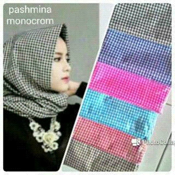 Hijab Pashmina Katun Monochrome Simple